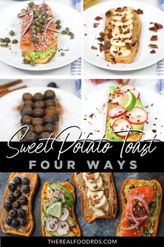 Try our Oven Baked Sweet Potato Toast 4 Ways to shake breakfast up a bit. Perfect for meal prepping! Easy Oven Recipes, Potato Recipes Crockpot, Toaster Oven Recipes, Sweet Potato Recipes Healthy, Breakfast Potatoes Easy, Air Fryer Recipes Breakfast, Sweet Potato Toast, Real Food Recipes, Snacks Recipes
