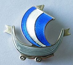 Sterling Silver Enamel Viking Ship Brooch/Pin - AKSEL HOLMSEN
