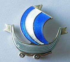 Sterling Silver Enamel Viking Ship Brooch/Pin - AKSEL HOLMSEN