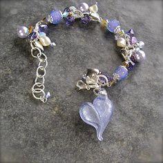 Pixie Dust Sparkly Lavender lampwork Heart Charm Bracelet by Etsy Artist XannasJewelryBox