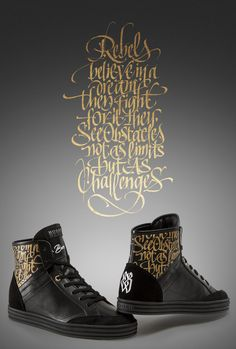 Luca Barcellona: The God of Lettering Custom Shoes for Hogan Rebel - Woman Calligraphy Types, Beautiful Calligraphy, Calligraphy Letters, Modern Calligraphy, Graffiti Lettering, Lettering Design, La Santa Muerte Tattoo, Typography Layout, Penmanship