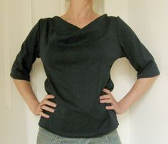 "Free pattern: cowl-neck 3/4-sleeve t-shirt via burdastyle.com, called ""pull à manche 3/4 et col bénitier tout simple."" Photo of shirt sewn by Jesse Breytenbach."
