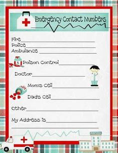 first aid chart for kids printables - - Yahoo Image Search Results