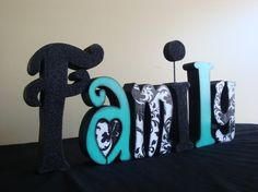 Wooden Letters Hand Painted and Decoupaged