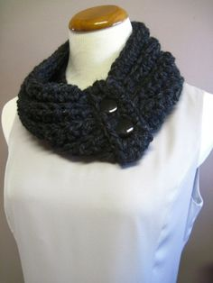 Crochet Cowl Neckwarmer  Charcoal Black