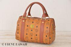 MCM Cognac Visetos PVC / Brown Leather Hand Bag 25