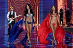 Alessandra Ambrosio and Adriana Lima wearing $2 million Dream Angels Fantasy Bras at 2014 Victoria's Secret Fashion Show.