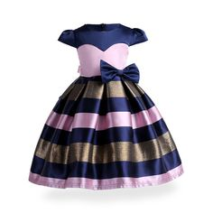 Flower Girl Dress Princess Costume Lush Ruffles Kids Clothes Sleeveless Party Dress Children Prom Striped Dress
