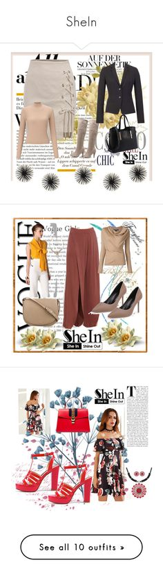 """""""SheIn"""" by dinka1-749 ❤ liked on Polyvore featuring ESCADA, Miss Selfridge, Masquerade, CÉLINE, Viktor & Rolf, Gucci, WALL, MAC Cosmetics, Pottery Barn and Laura Geller"""