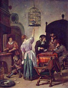 """The Parrot Cage"" -- 1665 -- Jan Steen -- Dutch -- Oil on panel -- Rijksmuseum -- Amsterdam, Netherlands"