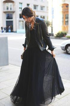moto jacket + sequin + tulle maxi skirt