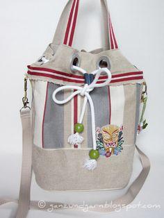 Strandtasche, Seesack, Tikki Design von Ganz und Garn auf DaWanda.com