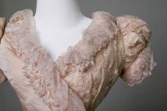 1891, America - Trousseau dress - Silk faille, voile, silk thread embroidered net, frayed silk grosgrain ribbon