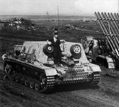 "m4a1-shermayne:  ""StuiG 33B heavy assault gun passing a destroyed Katyusha in July,1943.  """
