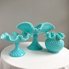 Silver Crest Turquoise Milk Glass Footed by BarkingSandsVintage, $170.00