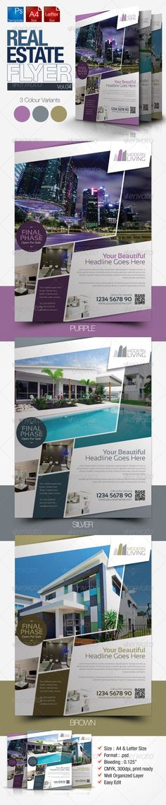 "Simple Real Estate Flyer Vol.04  #GraphicRiver         Simple and clean real estate flyer template suitable for real estate management agencies, properties agent and any real estate related businesses with easy editing.  	 	 Colour : CMYK 		 Files : .psd 		 Size : 8.5"" x 11"" (Letter) + 8.27×11.69(A4) / 300dpi 		 bleeding : 0.125""  		 Fully layered 		 Smart object layer to edit images"
