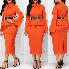 Orange like it? Orange Dress, Peplum Dress, Womens Fashion, Dresses, Clothing, Vestidos, Women's Fashion, Dress, Woman Fashion