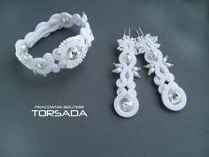 Sutasz ślubny biały, bransoletka z kolczykami zestaw biżuterii ślubnej długie kolczyki kryształy Swarovskiego