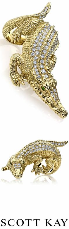 Ladies Couture 20K Gold Alligator with 1.81ctw of Diamonds #ScottKay