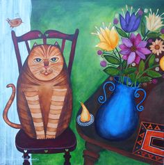 Justin Abelman- южноафриканский художник . Обсуждение на LiveInternet - Российский Сервис ОнРSouth African Artists, Naive Art, Various Artists, Cat Art, Cute Cats, Whimsical, Kitty, Illustration, Painting