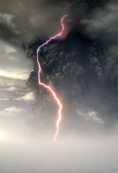 Lightning in an ash cloud
