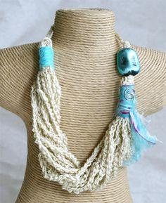 Crochet multi chain fiber necklace by MarryG on Etsy, $20.00