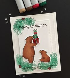 Kid's Christmas card. MFT Birthday Bears stamps and dies and Trim the Tree sentiment stamp. Colored with Copic markers. Pine bough stamp by Paper Source.