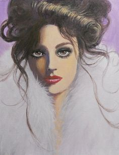 lady in a white fur. Original acrylic fantasy lady painting on canvas, 11'x14'.... A lady with expressive eyes and as is often said, they are the windows of the soul.