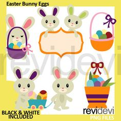 Easter Bunny Eggs Clip Art. Fun clipart for making Easter Activities and centers. Great resource for any school and classroom projects such as for creating bulletin board, printable, worksheet, classroom decor, craft materials, activities and games, and for