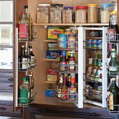 Are you thinking about kitchen organization yet for 2013? I am! I love the idea of outfitting an existing cabinet with adjustable door racks, rotating shelves & pull out racks @bhg.