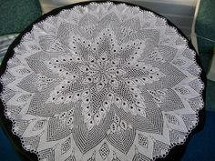 "European Knitted Lace Doily, beautiful 30"" round doily handmade of 100% fine white cotton by KnittySchmitty."