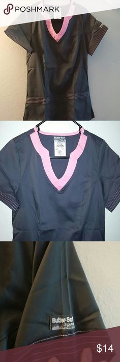 Scrub suit (top only) Butter soft Gray with pink scallop neck top butter soft Other