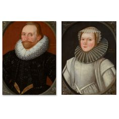Pair of portraits of Henry Tothill and a young lady, traditionally identified as Grace Tothill both painted in 1624