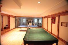 wood trim in basement, wood maple floor