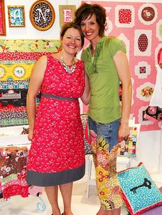 Violet Craft & @Brassy Apple #quiltmarket SLC     love the jeans and the bag!! and her dress and that picture quilt in the background