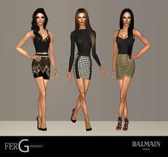 Pack de 3 vestidos Inspirados en Balmain  Meshes Incluidos  DESCARGAR  Modelos:  Blanca Padilla, Aphrodite Minus y Sarah Moore