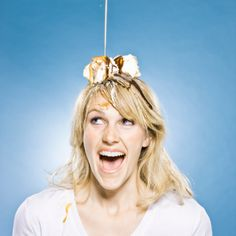 Stock Photo : woman with an ice cream sundae on her head
