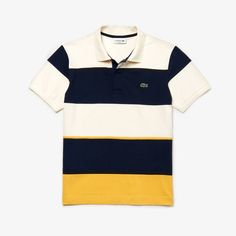 A straight-fitting polo in stretch technical piqué with iconic colorblock stripes. Combine this essential piece with dark jeans for a contemporary look. Polo Tee Shirts, Polo Shirt Outfits, Pique Polo Shirt, Golf Shirts, Polos Lacoste, Lacoste Men, Polo Shirt Design, Le Polo, Dark Jeans