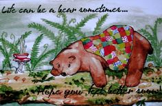 Get Well Card-Bears-Watercolour Card-Animal by EmmysAnimals