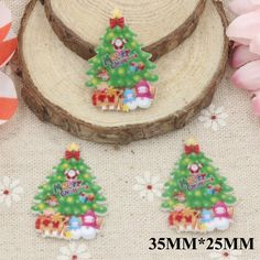 50pcs/lot 35*25CM Merry Christmas Tree Flat Back Resins For Festival Planar Resin Cabochon DIY Craft For Home Decorations FR061