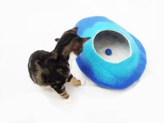 Cat Bed Cave House cat nap Cocoon Blue and Teal by LoveCatCaves, £35.00