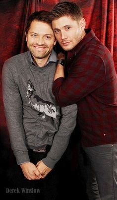 Misha Collins and Jensen Ackles---looks like Dean and Cas Christmas card.