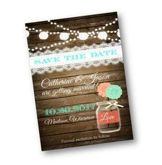 Rustic Save the Date Wedding Coral teal mint Wood by PinkPopRoxx