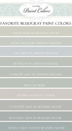 "Paint Colors featured on HGTV show ""Fixer Upper"" (Favorite Paint Colors). Paint Colors featured on HGTV show ""Fixer Upper"" Blue Gray Paint Colors, Wall Colors, House Colors, Playroom Colors, Colour Gray, Neutral Paint, Mount Saint Anne, Magnolia Farms, Magnolia Homes"