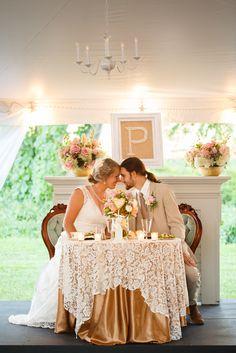 Sweetheart table. Blush and gold wedding. fall rustic backyard wedding