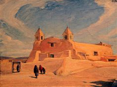 Mission at Isleta painting (1908) by Joseph Imhof at Harwood Museum of Art, Taos, NM