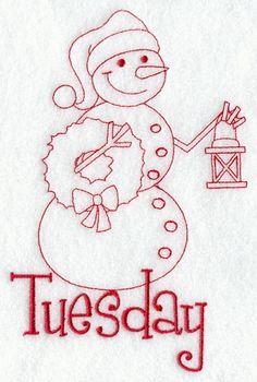 Snowman - Tuesday (Redwork)