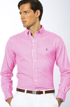 There's something ridiculously attractive about a confident man who can pull off wearing a pink shirt. Sharp Dressed Man, Well Dressed Men, Camisa Ralph Lauren, Casual Wear, Men Casual, Look Man, Gentleman Style, Stylish Men, Swagg