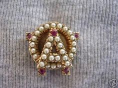 AOII Badge - Pearls with Ruby Points