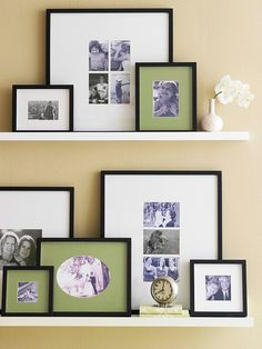 Layer framed photos and artwork on shelves. Frame works in a strategic, coordinated way or create a random display, whatever makes your heart sing.
